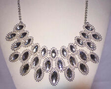 "Bib Necklace Faceted Plastic Stones Silver Tone Metal 22"" Flashy Statement"