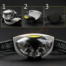 New 6 LED Headlamp 3 Mode Headlight Head Lamp Hiking Torch White+Red Flash Light