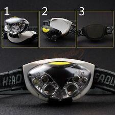New 6 LED Headlamp 3 Mode Headlight Head Lamp Hiking Torch White+Red Flash Light
