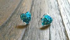 Hand Made Resin Glitter Sparkly Heart Stud Earrings Silver 10mm Stainless Steel