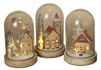 9-In. LED Lighted Holiday Wood Winter Snowy Village Scene Glass Dome Cloche Set