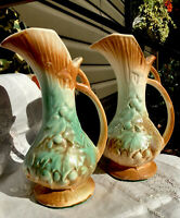 1940s -2 McCoy Art Pottery Ewer Pitcher Vase-Brown/Celadon Green-Grapes & Leaves
