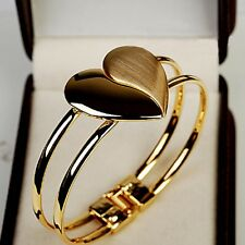 Fashion Women Lady Girl Jewelry 18K Gold Filled Heart Bangle Cuff Charm Bracelet