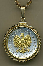 Silver and Gold Coin Necklace W/ Rope Bezel, Polish Eagle with Crown,193