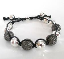 New TAI Micro Pave Disco Ball Sterling Silver Bead Adjustable Knotted Bracelet