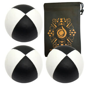 3 x Black/ White 115g Cascade Classic Pro Thud Juggling Balls & Bag