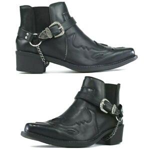 New Men Ankle Cowboy Biker Cuban Smart Chelsea Western Harness Boots Shoe Size