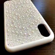 For iPhone X - Hard Premium TPU Rubber Skin Case Cover White Diamond Bling Pearl