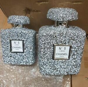 Crushed Crystal Diamond Silver Perfume Bottles Ornament Shelf Sitter NEW