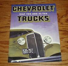 1936 Chevrolet Truck Half Ton & 1 1/2 Ton Sales Brochure 36 Chevy