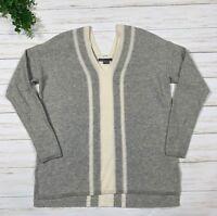 Women's VINCE Double V-Neck Cashmere Sweater sz XS grey white colorblock stripe
