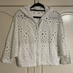 Trelise COOPER White Broderie anglaise hoody zip crop top S