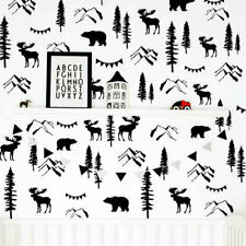 Woodland Wall Decals, Mountain Decal, Bear Decal, Forest Decal, Pine Tree ga188