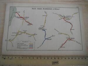 BATH MIDFORD BURNHAM HIGHBRIDGE WELLS WOOKEY CHARD DURSTON S&D RAILWAY MAP 1912