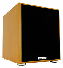 """Rockville Rock Shaker 10"""" Inch Wood 600w Powered Home Theater Subwoofer Sub"""