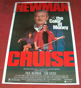 """1986 The Color of Money 27X40"""" Touchstone Pictures Movie Poster Cruise Newman EX"""