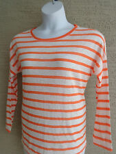 NWT KIARA L/S SCOOP NECK HIGH-LOW LIGHT WEIGHT KNIT ORANGE/WHITE STRIPE TOP XL