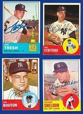 NY YANKEES - '63 TOPPS 4 CARD LOT - SIGNED AUTOGRAPHED BOUTON, SHELDON, STAFFORD