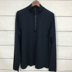 Lululemon Metal Vent Half Zip Long Sleeve Shirt Size XL Navy Blue Run Workout