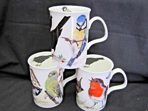 GARDEN BIRDS, SET 3 FINE BONE CHINA mugs, Made In England, by Roy Kirkham, 10oz