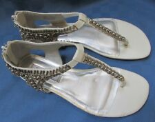 Jenifer Lopez White And Silver Gladiator Sandal Size 6.5