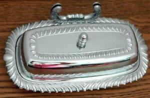 Vintage Chrome Plated Butter Dish With Glass Insert, Knife Holder & Lid