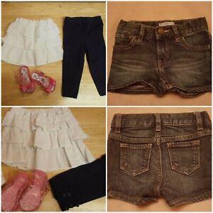 NEXT Gap Baby Girls Denim Shorts Skirt Jelly Sandals Leggings Bundle Age 12-18