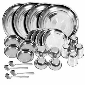 Stainless Steel Dinner Set ( Glass, Plates, Bowls, Spoon) (Set of 24)