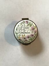 Crummles Enamel A Year to Remember 1980 Trinket Box Hinged Gold Flowers Pink