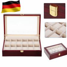 Für 12 Uhren Uhrenbox Uhrenkoffer Uhrentruhe Uhrenkasten Uhrenschatulle Holz NEU