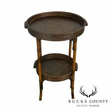 Faux Bamboo Metal & Rattan Round 2 Tier Tray Table