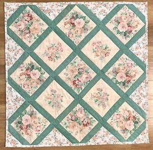 "Baby Quilt Handmade Girl's Peach Green Floral Patchwork Crib Blanket 42""x42"""