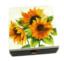 Wooden Jewellery Box Organizer Jewelry holder craft box Christmas gift Sunflower