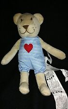 IKEA FABLER BJORN Baby Bear Plush Stuffed Animal Blue Striped Red Heart on Front