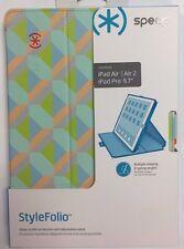 Speck STYLEFolio ipad Air 1 2 Case PLAYA GEO CITRUS/WARNING ORANGE/MYKONOS BLUE