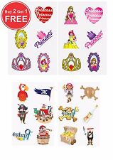 72 Childrens Pirate & Princess Temporary Tattoos Loot Party Bag Filler Kids