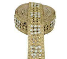 9 metre Indian Lace Trim Lehenga Sari Border Zari Hand Cut Work Stone & Mirror