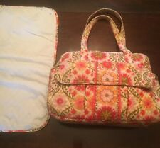VERA BRADLEY Diaper Bag Carry On Shoulder Bag Large Folkloric Orange/Pink w/Pad