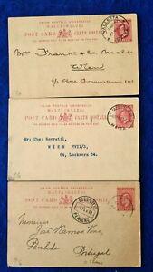 1902 Malta 3 x POST PAID POSTCARDS KEVII 1d used VAG-2, VAG-31a & SLM-21 CANCELS