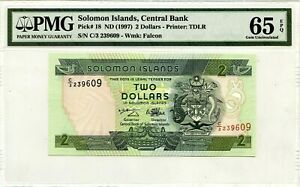 SOLOMON ISLANDS $2 DOLLARS 1997 CENTRAL BANK PICK 18 LUCKY MONEY VALUE $65