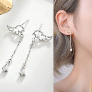 925 Silver Zircon Angel Wings Tassel Earrings Stud Drop Dangle Women Jewelry New