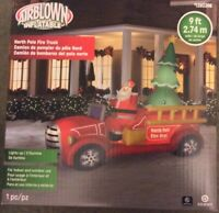LG. 9' Gemmy Santa North Pole FIRE TRUCK Xmas Airblown Inflatable Lighted Tree