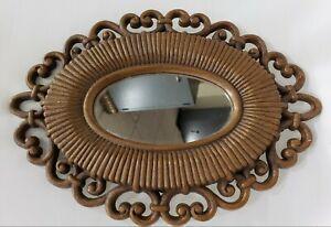 Vintage Oval Mirror Brown Plastic Faux Rattan Frame Homco 2615