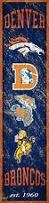 "Denver Broncos Heritage Banner Retro Logo Wood Sign 6"" x 24"" Wall Decor Est 1960"
