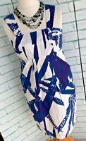 WHISTLES Blue Print Pinafore Style Dress Sz 14 UK Straight Midi  / b13