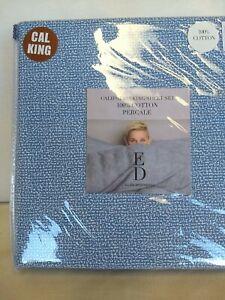 Ellen Degeneres Dotted Texture CAL KING SHEET SET 4 PC Blue White DOTS PRINT NEW