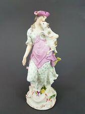 Große Meissen Figur, Schäferin mit Lamm, 19. Jahrhundert, Höhe 29,5 cm