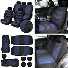 9pcs Full Set Auto Car Seat Cover Front&Rear Seat Mat Pad Blue + Headrest Cover