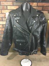 Vintage Diamond Plate Buffalo Leather Motorcycle Jacket Jacket Black Mens Medium