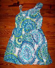 Girls THE CHILDREN'S PLACE Blue Green White Circles Ruffles Dress Small 5 / 6